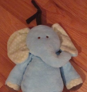 Carters Just One Year Plush Musical Blue, Brown Green Polka Dot Elephant  91299