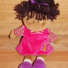 Russ Berrie Amber Brown Black Hair Pink Butterfly Dress Plush Doll 26843