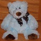 """Mary Meyer 8"""" Plush Blue & Brown Teddy Bear Polka Dot Bow"""