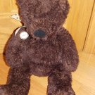 Hallmark Dark Chocolate Brown Teddy Bear Tan Polka Dot Ribbon Plush Toy
