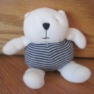Baby Gap Plush White & Blue Striped Teddy Bear Rattle Baby Toy