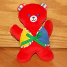 Vintage Eden Bright Red Teddy Bear Plush Rattle Green Blue Yellow Stripe Vest