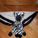 My Banky by Lori Turner White Plush Zebra Chad Security Blanket Lovey Black Trim Large Size