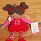 Just One You Red Pink Plush Valentine Talking Love Doll Stripe Tights Dark Brown Hair Skin  630253