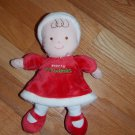 Carters Just One Year Merry Christmas Doll Red Velvet Dress Brown Eyes Hair Mary Jane Shoes  99923