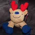 Animal Adventure Plush Brown Reindeer Squeaky Red Antlers Blue Feet Dog Toy
