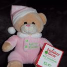 Walmart Pink Baby's 1st Christmas Sitting Teddy Bear Pink Hat