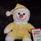 Walmart Yellow Baby's 1st Christmas Sitting White Snowman Hat Pink Buttons