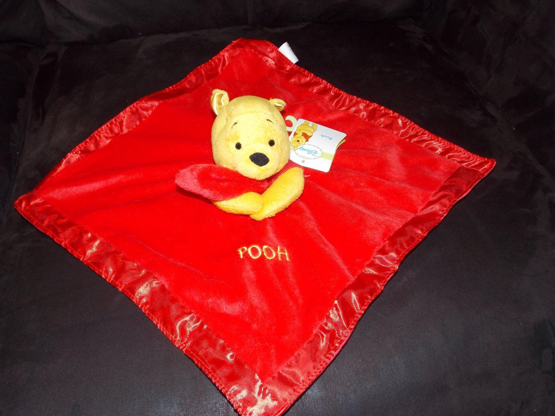 Disney Winnie The Pooh Red Minky Satin Security Blanket