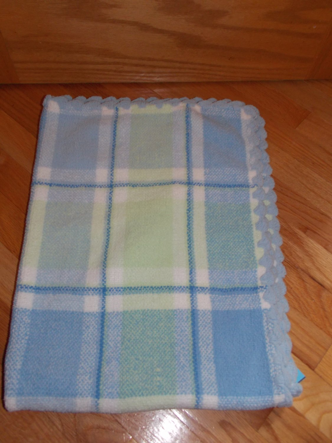 First Impressions Blue White Green Plaid Chenille Knit