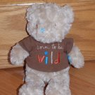 Tan Beige Plush Born to be Wild Messages Teddy Bear Wishes & Kisses Sandra Magsamen Brown Shirt