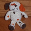 Animal Adventure Plush Knit Crochet Cream Orange Brown Puppy Dog Dots Eye Patch