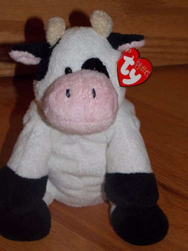 TY Pluffies Milkers Black & White Holstein Cow Tylux Plush 2006