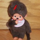 Sekiguchi Monchhichi Plush Monkey Girl Holding Pink Baby Bottle Red Bow Pink Bib Nuk