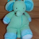 Carters Plush Green Chenille Musical Elephant Toy Blue Knit Ears Brown Bow Stitching 9243