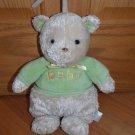 Carters Tan Beige Plush Teddy Bear Musical Baby Toy Green Shirt 8435