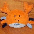 Carters Orange Plush Crab Toy Bubble Sounds 9996