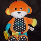 Carters Orange Teal Yellow Polka Dot Plush Little Monkey Activity Toy Teether Crinkle Squeak Rattle