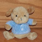 Carters Plush Tan Beige Puppy Dog Blue Shirt Ribbon Buttons Rattle 36519