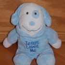 Dandee Collectors Choice Blue Jesus Loves Me Puppy Dog Plush Toy in Pajamas