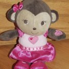 Just One You Plush Monkey Pink Heart Dress Says I Love You 63001