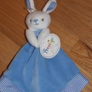 Prestige Baby White Blue Bunny Rabbit Security Blanket Gingham Trim Hand Puppet 96030