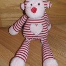 Animal Adventure Plush Red Pink Stripe Monkey Toy Heart