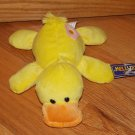 Kellytoy 7 Inch Plush Laying Yellow Duck Pink Yellow Flower on Tush Butt