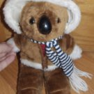 Vintage 80s Interpur Avon Plush Brown Koala Bear with Fur Jacket Stripe Shirt Scarf