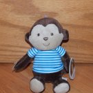 Carters Child of Mine Brown Plush Monkey Rattle Blue White Stripe Shirt 62029