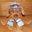 Hugfun International Plush Brown Puppy Dog Wearing Scarf Hat