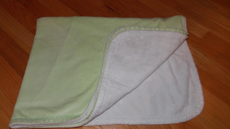 Pottery Barn Kids Chamois Stroller Green White Baby Blanket