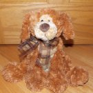 Gund Plush Brown Sitting Puppy Dog Booker Plaid Ribbon Bow 13088