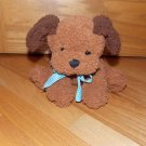 Princess Soft Toys 2005 Brown Plush Sitting Puppy Dog Blue Gingham Plaid Ribbon Bow