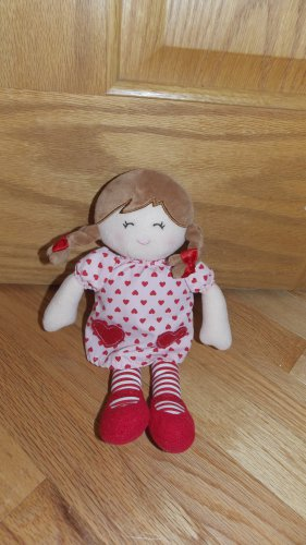 Carters Plush Doll Brown Braids Pink Red Heart Dress 61002