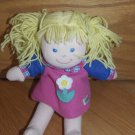 Eden Plush Blond Doll Pony Tails Pink Blue Fleece Flower Dress
