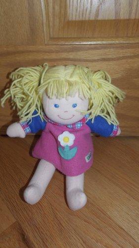Eden Plush Blond Doll Pony Tails Pink Blue Fleece Flower Dress