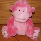 Russ Berrie Pink Plush Sitting Monkey Named Coby Heart Feet 39153