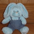 12 Inch Blue Plush Sitting Bunny Rabbit Denim Bib Overalls