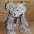 Russ Berrie Bears from the Past Tan Beige Shaggy Fur Teddy Bear Brown Polka Dot Ribbon Bow 3288