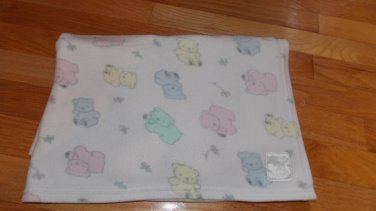Koala Baby 1995 Toys R Us White Fleece Baby Blanket Pastel Teddy Bears Flowers WPL3708