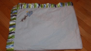 Carters Just One Year Blue Velour Sherpa Giggles Elephant Baby Blanket Stripe Trim Edge 49411J