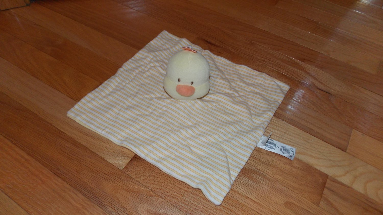 Little Me Mamiye Brothers Yellow Stripe Duck Chick Security Blanket Lovey Orange Ribbon FLAW