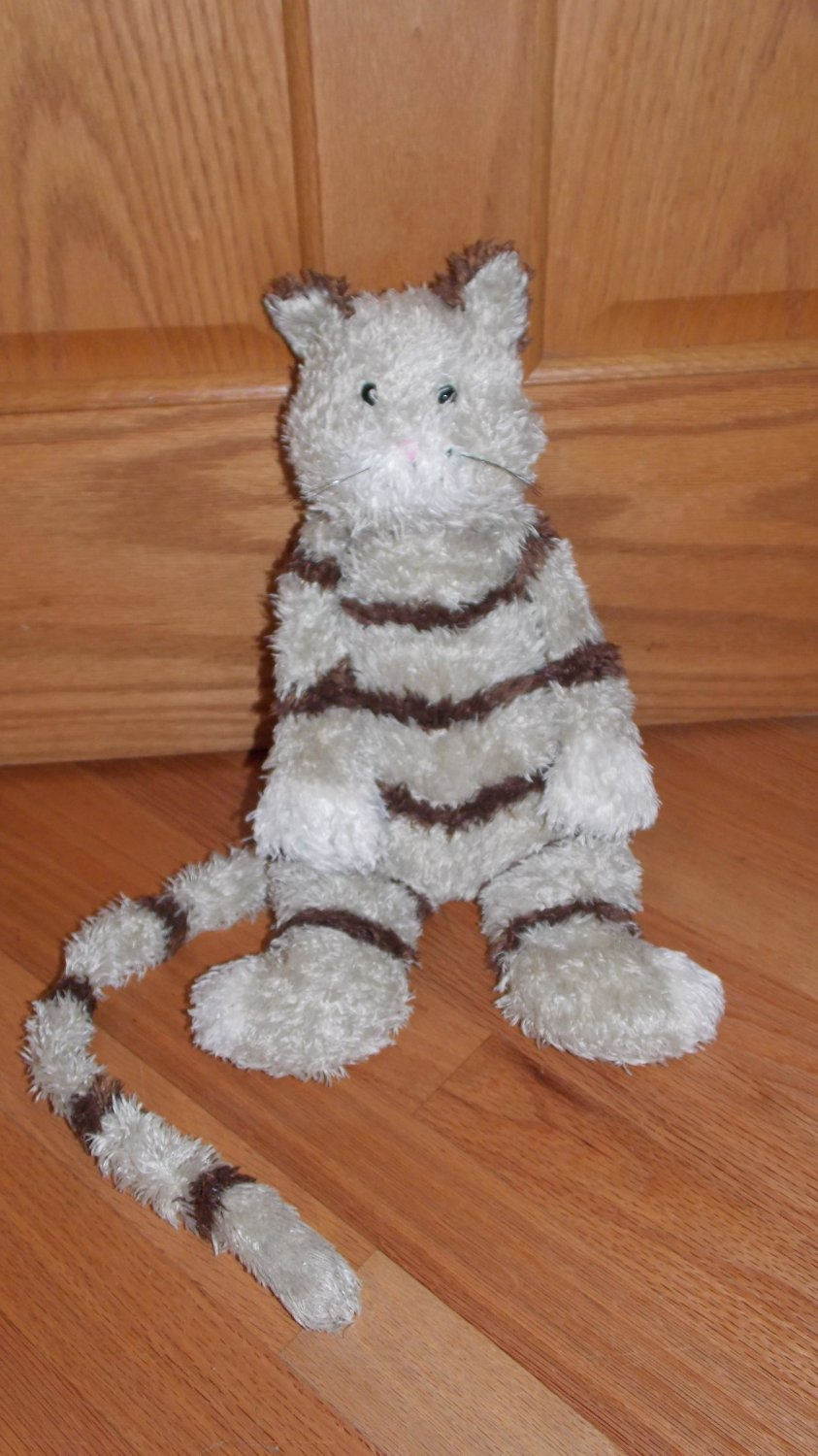 Jellycat Plush 17 Inch Shaggy Bunglie Beige Tan Brown Striped Kitty Cat Toy Long Tail Jelly Cat
