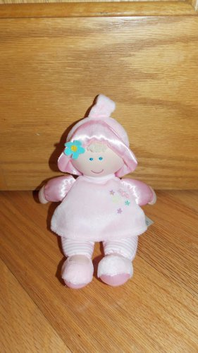 Kids Preferred Plush Pink Baby Doll Satin Arms Striped Legs Blonde Blue Eyes