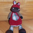 "Jellycat Plush Red & Brown Corduroy Horse Pony 16"" Cordy Roy Tartan Plaid"