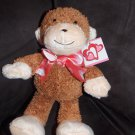 CS International H.K. Toys Shopko Brown Cream Plush Monkey Heart Ribbon Valentines Toy