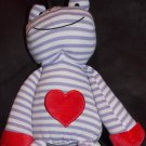 Animal Adventures Plush Purple White Stripe Frog Red Heart Hands Feet