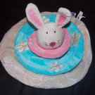 Manhattan Toys Beige Tan Bunny Rabbit Pink Teal 3 Tier Circles Security Blanket Lovey