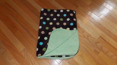 Target Circo Brown Green Cream Tan Teal Dot Circle Baby Blanket Minky Sherpa